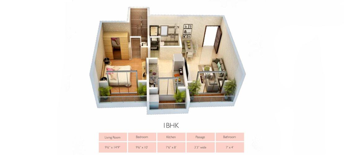 OriginCorp 1BHK-Floor-plan