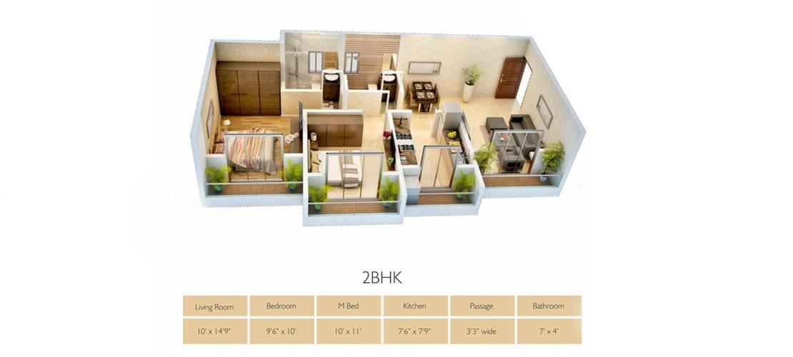 Origin Group 2BHK-Floor-plan